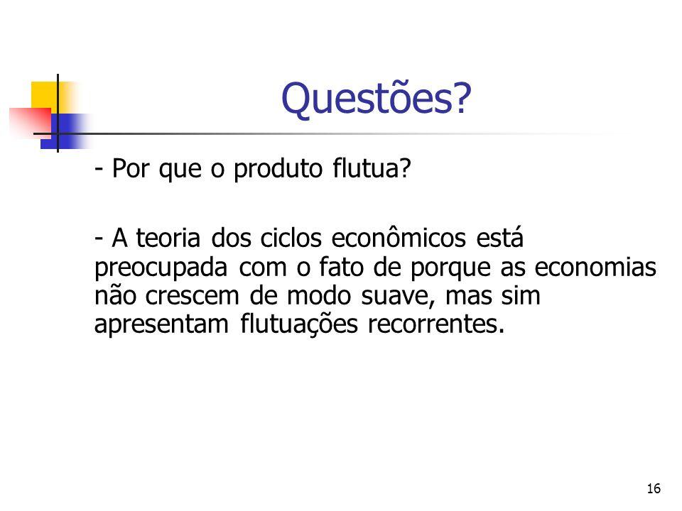 16 Questões? - Por que o produto flutua? - A teoria dos ciclos econômicos está preocupada com o fato de porque as economias não crescem de modo suave,