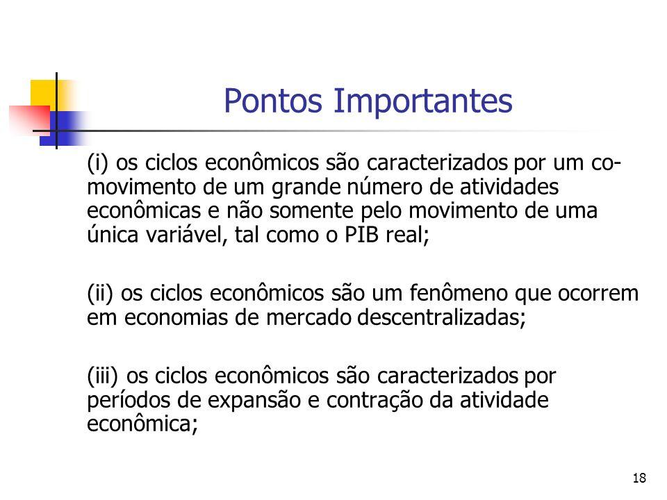 18 Pontos Importantes (i) os ciclos econômicos são caracterizados por um co- movimento de um grande número de atividades econômicas e não somente pelo