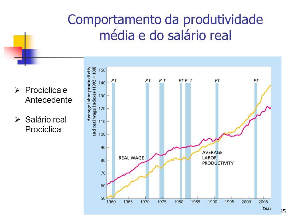 35 Comportamento da produtividade média e do salário real Prociclica e Antecedente Salário real Prociclica