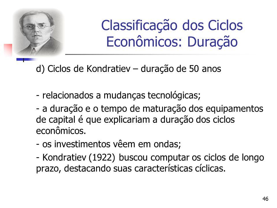 46 Classificação dos Ciclos Econômicos: Duração d) Ciclos de Kondratiev – duração de 50 anos - relacionados a mudanças tecnológicas; - a duração e o t