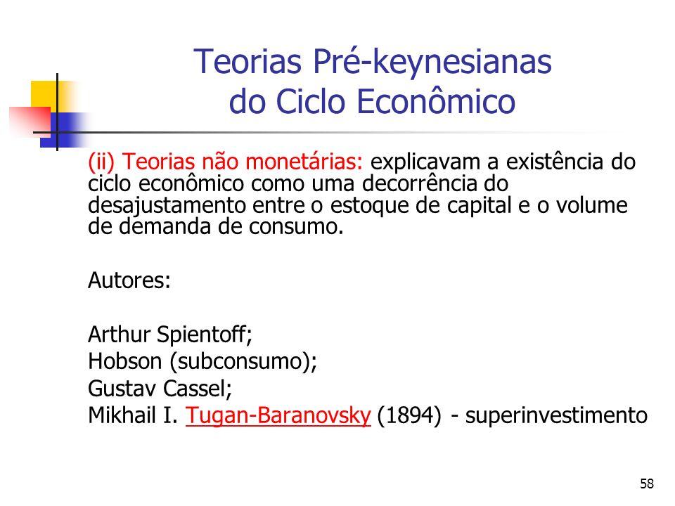 58 Teorias Pré-keynesianas do Ciclo Econômico (ii) Teorias não monetárias: explicavam a existência do ciclo econômico como uma decorrência do desajust