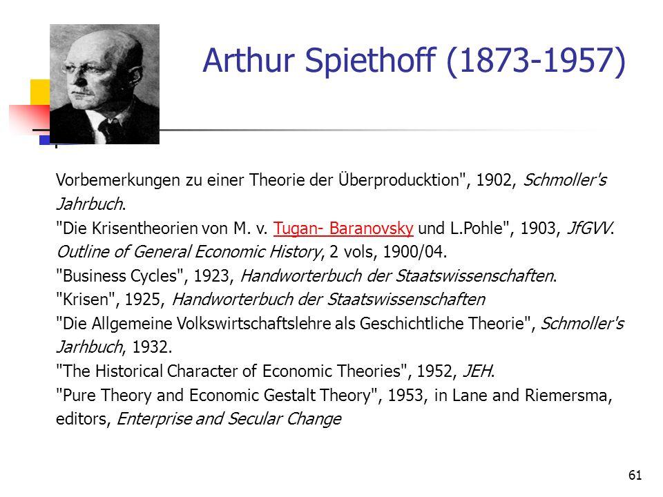 61 Arthur Spiethoff (1873-1957) Vorbemerkungen zu einer Theorie der Überproducktion