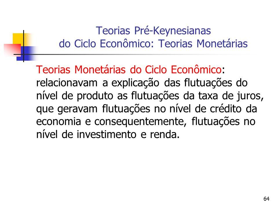 64 Teorias Pré-Keynesianas do Ciclo Econômico: Teorias Monetárias Teorias Monetárias do Ciclo Econômico: relacionavam a explicação das flutuações do n