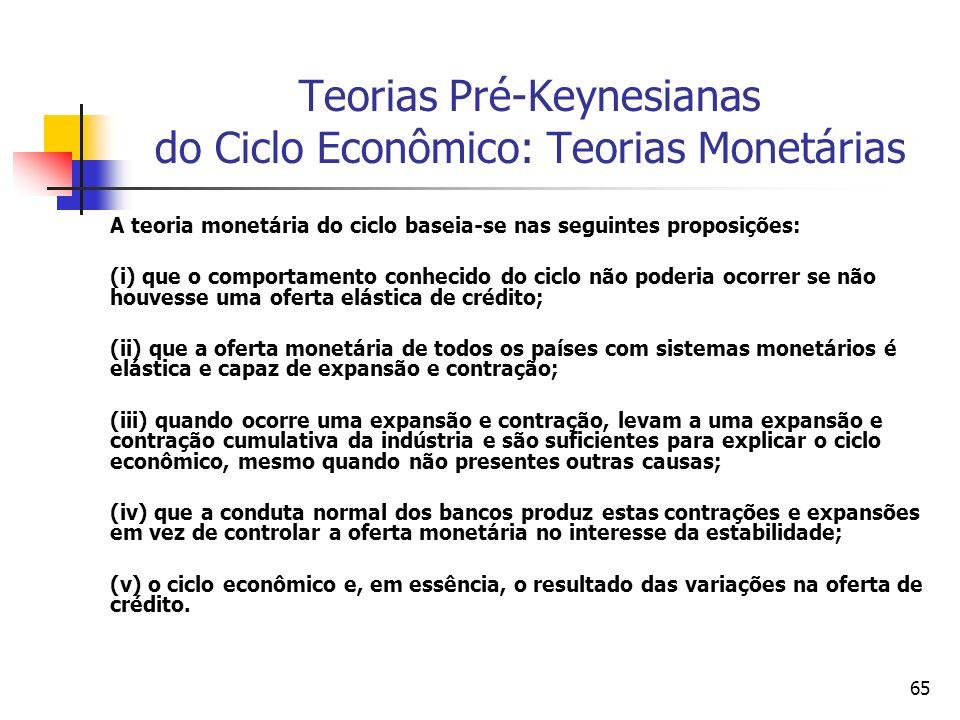 65 Teorias Pré-Keynesianas do Ciclo Econômico: Teorias Monetárias A teoria monetária do ciclo baseia-se nas seguintes proposições: (i) que o comportam