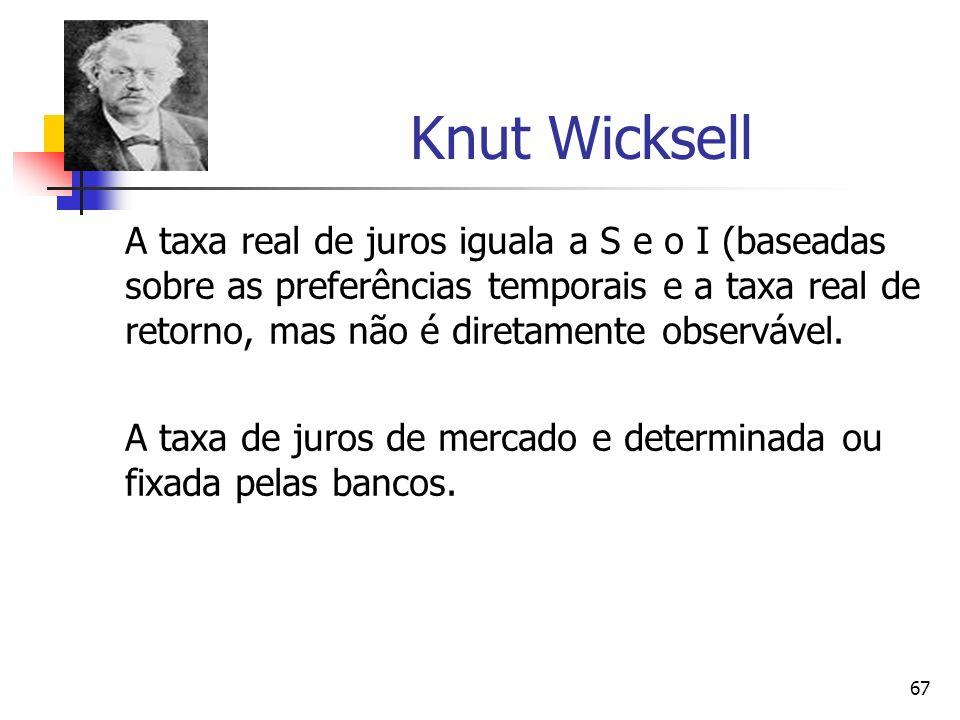 67 Knut Wicksell A taxa real de juros iguala a S e o I (baseadas sobre as preferências temporais e a taxa real de retorno, mas não é diretamente obser
