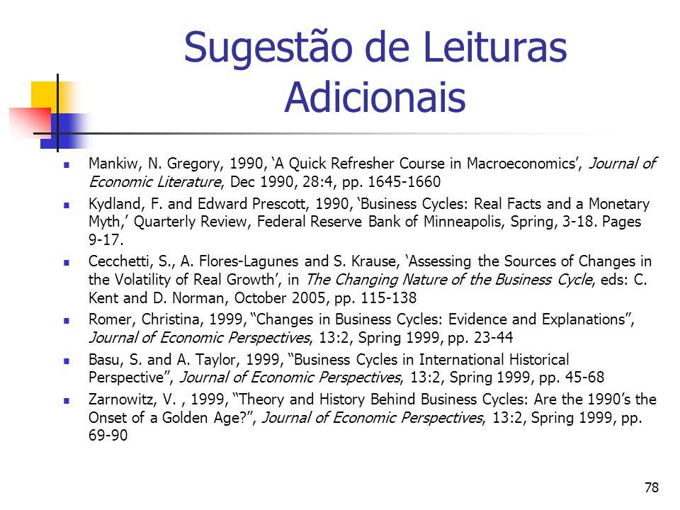 78 Sugestão de Leituras Adicionais Mankiw, N. Gregory, 1990, A Quick Refresher Course in Macroeconomics, Journal of Economic Literature, Dec 1990, 28: