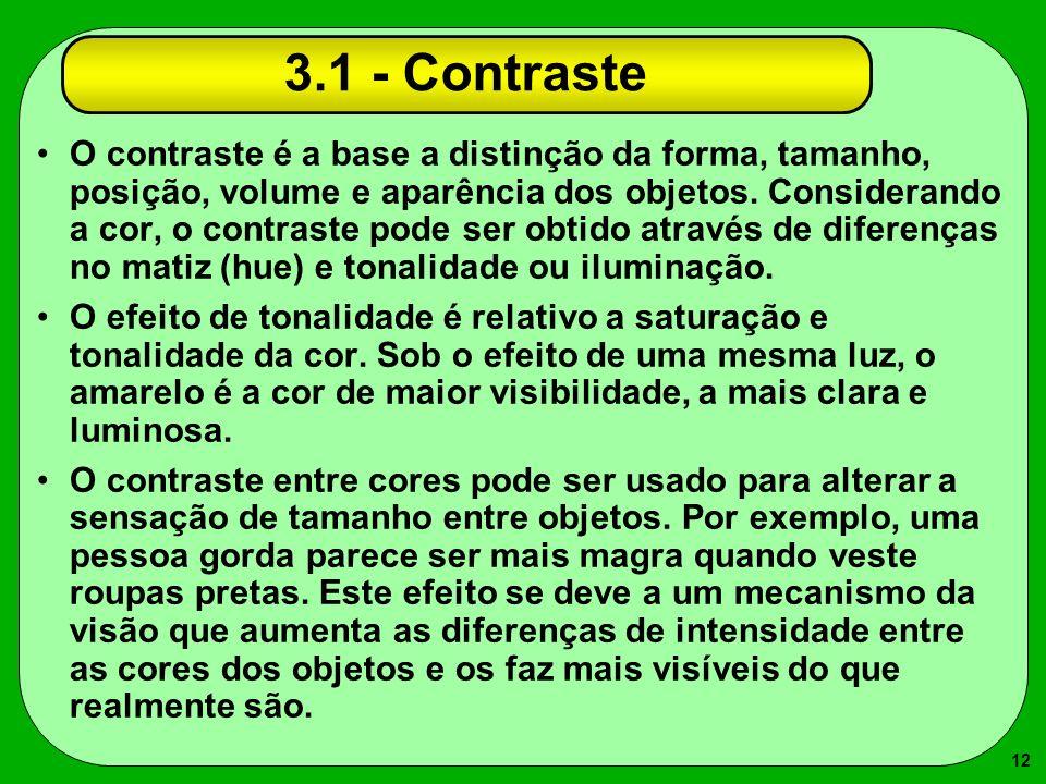 12 3.1 - Contraste O contraste é a base a distinção da forma, tamanho, posição, volume e aparência dos objetos. Considerando a cor, o contraste pode s