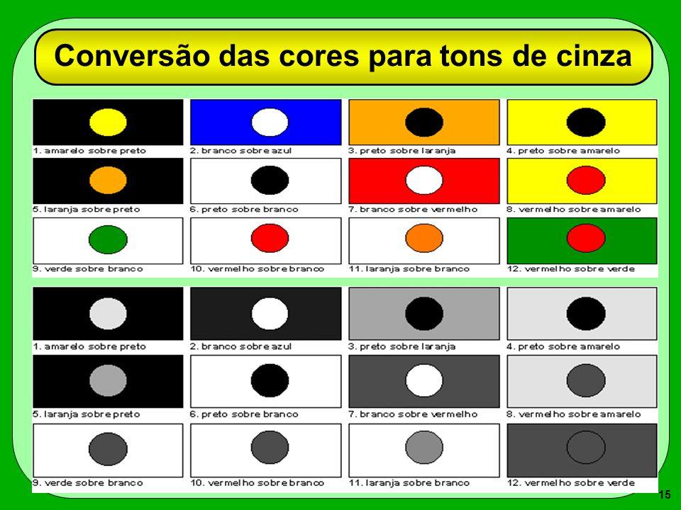 15 Conversão das cores para tons de cinza
