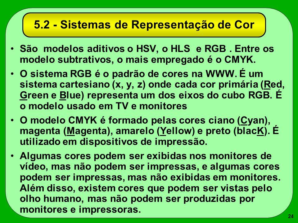 24 5.2 - Sistemas de Representação de Cor São modelos aditivos o HSV, o HLS e RGB. Entre os modelo subtrativos, o mais empregado é o CMYK. O sistema R