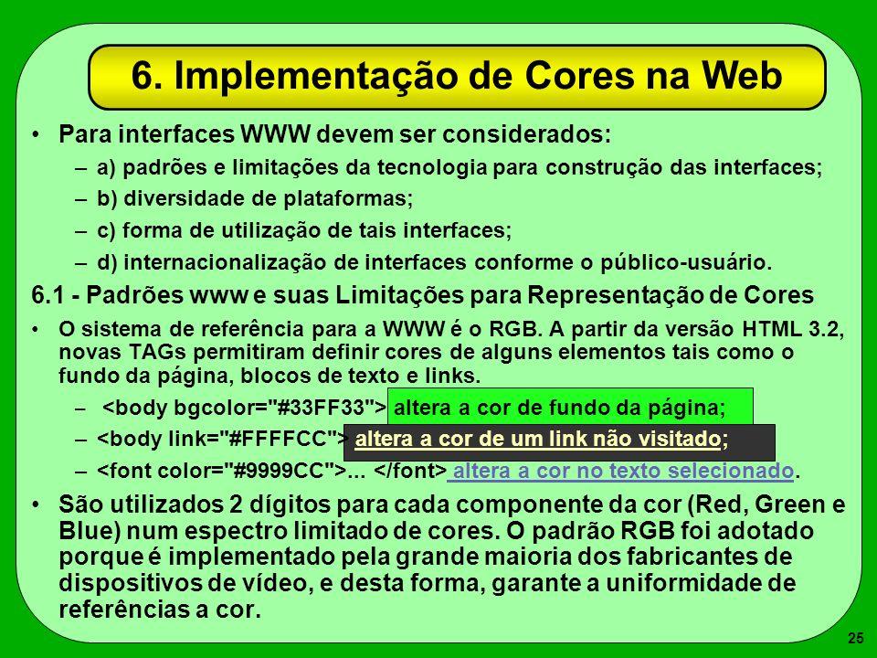 25 6. Implementação de Cores na Web Para interfaces WWW devem ser considerados: –a) padrões e limitações da tecnologia para construção das interfaces;