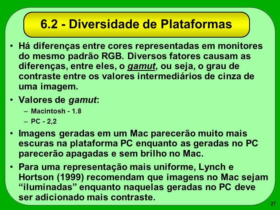 27 6.2 - Diversidade de Plataformas Há diferenças entre cores representadas em monitores do mesmo padrão RGB. Diversos fatores causam as diferenças, e