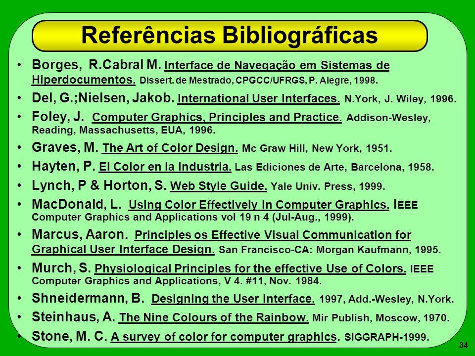 34 Referências Bibliográficas Borges, R.Cabral M. Interface de Navegação em Sistemas de Hiperdocumentos. Dissert. de Mestrado, CPGCC/UFRGS, P. Alegre,