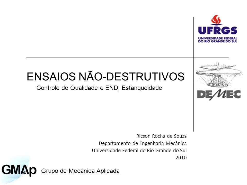 ENSAIOS NÃO-DESTRUTIVOS Ricson Rocha de Souza Departamento de Engenharia Mecânica Universidade Federal do Rio Grande do Sul 2010 Controle de Qualidade