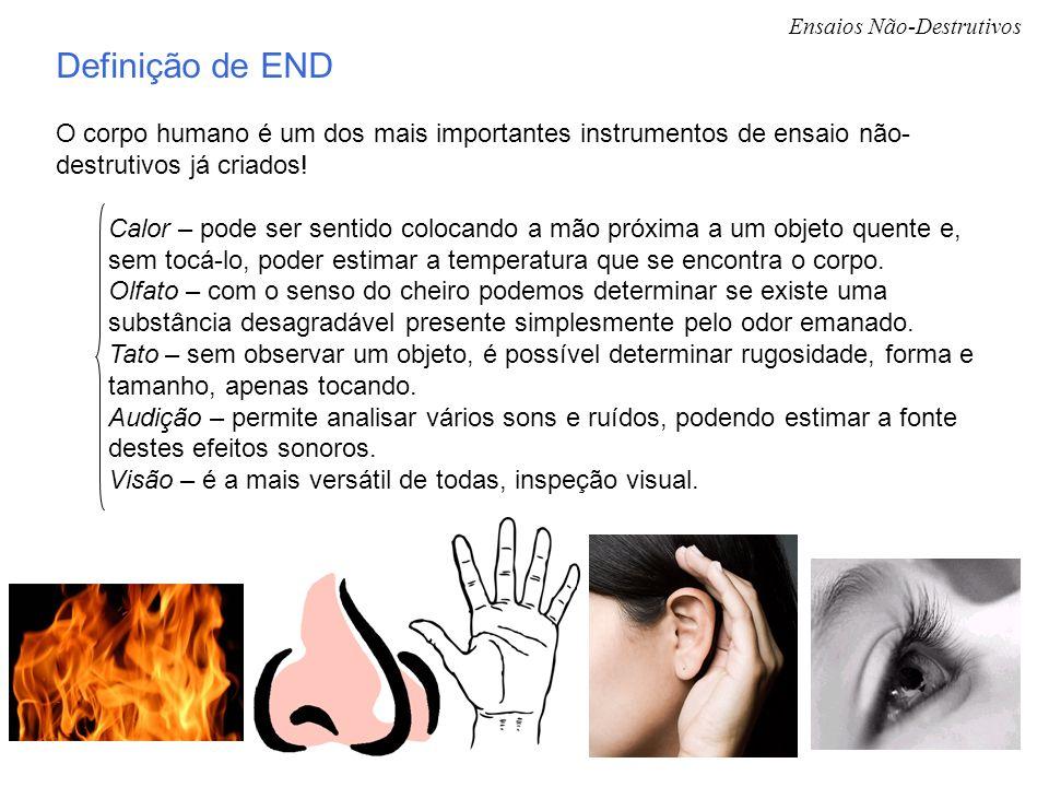Ensaios Não-Destrutivos Definição de END O corpo humano é um dos mais importantes instrumentos de ensaio não- destrutivos já criados! Calor – pode ser