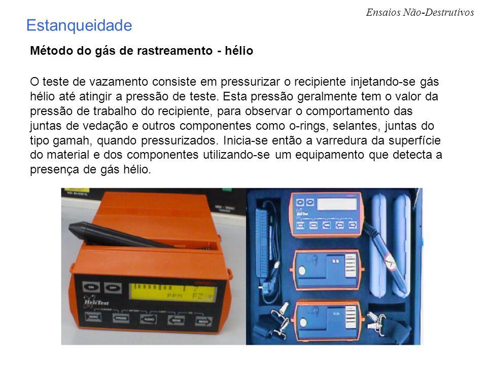 Ensaios Não-Destrutivos Estanqueidade Método do gás de rastreamento - hélio O teste de vazamento consiste em pressurizar o recipiente injetando-se gás