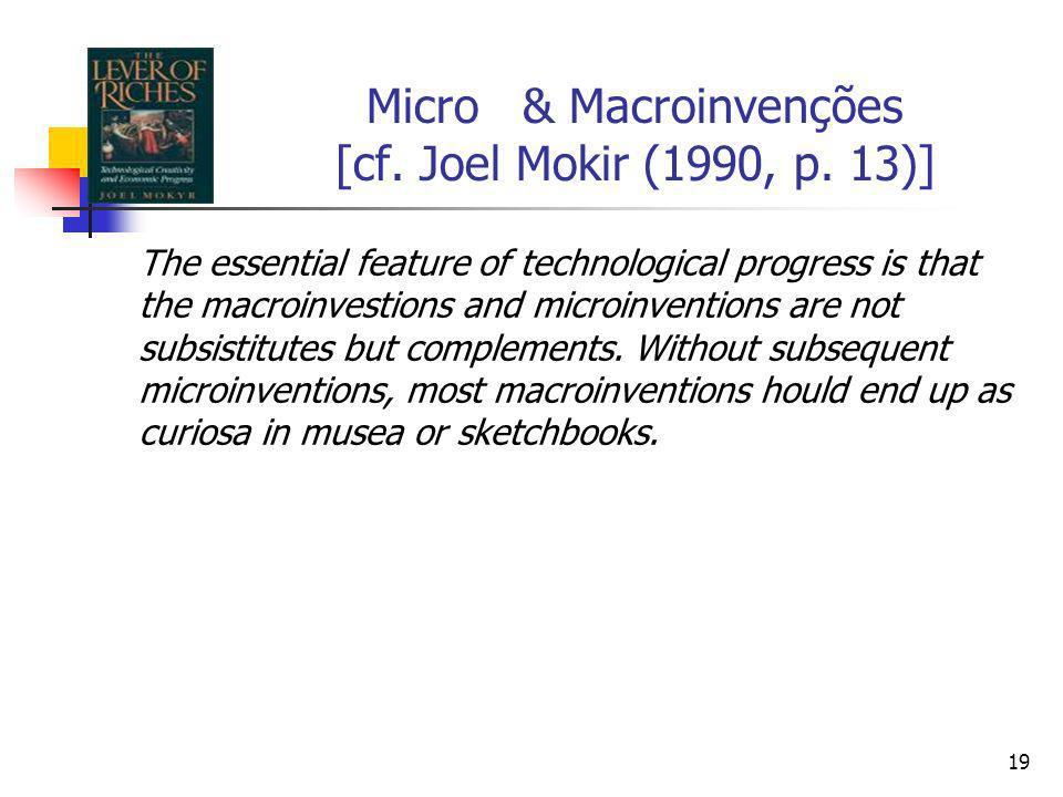 18 Micro & Macroinvenções [cf. Joel Mokir (1990, p. 13)] I define microinvetions as small, incremental steps that improve,adapt, and streamline existi