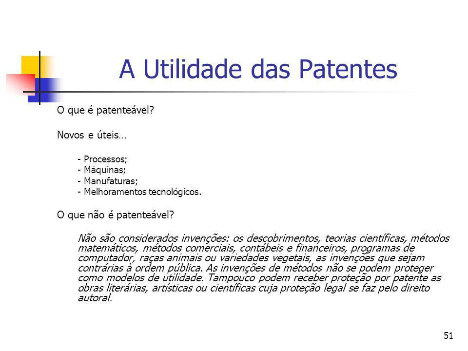 50 Objetivos básicos de um sistema de patentes (i) Promover incentivos baseados no mercado para a criações de inovações tecnológicas; (ii) Minimizar o