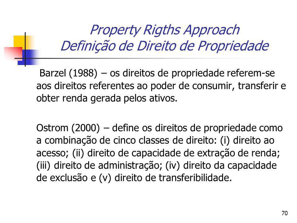 69 Property Rigths Approach Douglass North (1974, 1981) argumenta que as patentes permitem aos inventores capturar uma grande parte dos benefícios soc