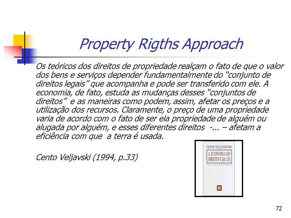 71 Direitos de propriedade e eficiência econômica Condições necessárias para a obtenção da eficiência com relação aos direitos de propriedade a)Univer