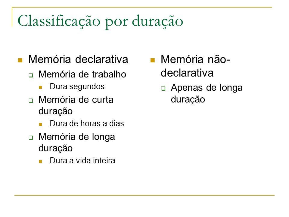Classificação por duração Memória declarativa Memória de trabalho Dura segundos Memória de curta duração Dura de horas a dias Memória de longa duração