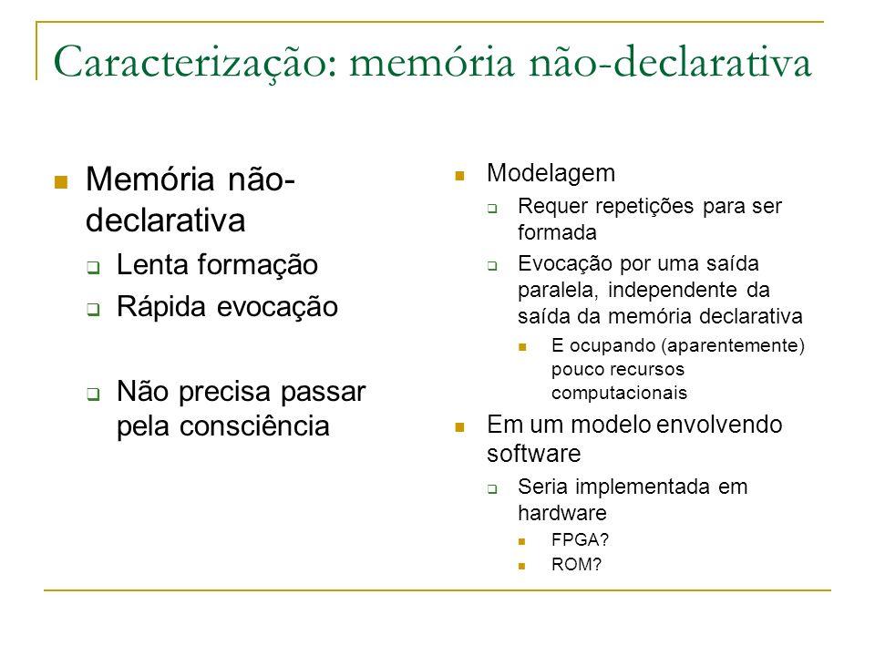 Caracterização: memória não-declarativa Memória não- declarativa Lenta formação Rápida evocação Não precisa passar pela consciência Modelagem Requer r