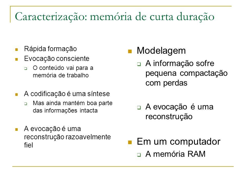 Caracterização: memória de curta duração Rápida formação Evocação consciente O conteúdo vai para a memória de trabalho A codificação é uma síntese Mas