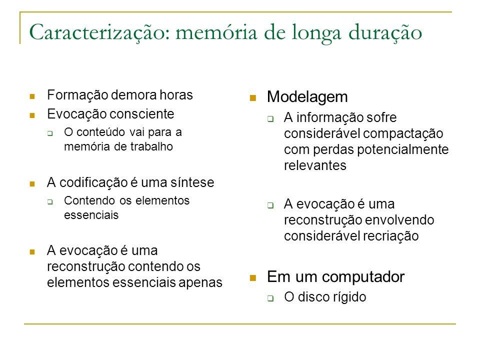 Caracterização: memória de longa duração Formação demora horas Evocação consciente O conteúdo vai para a memória de trabalho A codificação é uma sínte