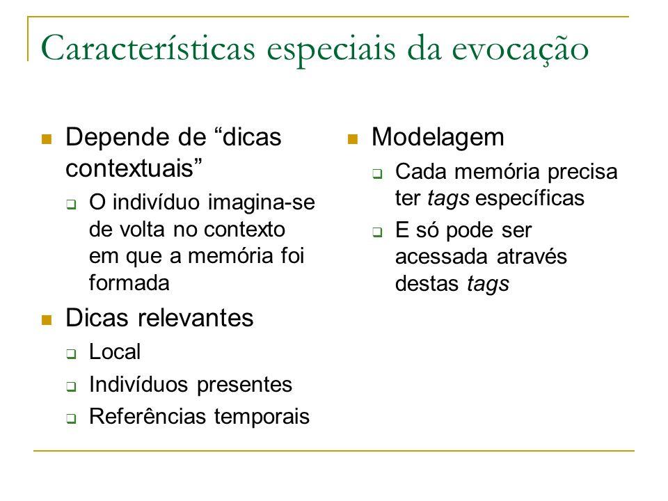 Características especiais da evocação Depende de dicas contextuais O indivíduo imagina-se de volta no contexto em que a memória foi formada Dicas rele