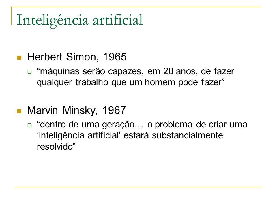 Inteligência artificial Herbert Simon, 1965 máquinas serão capazes, em 20 anos, de fazer qualquer trabalho que um homem pode fazer Marvin Minsky, 1967