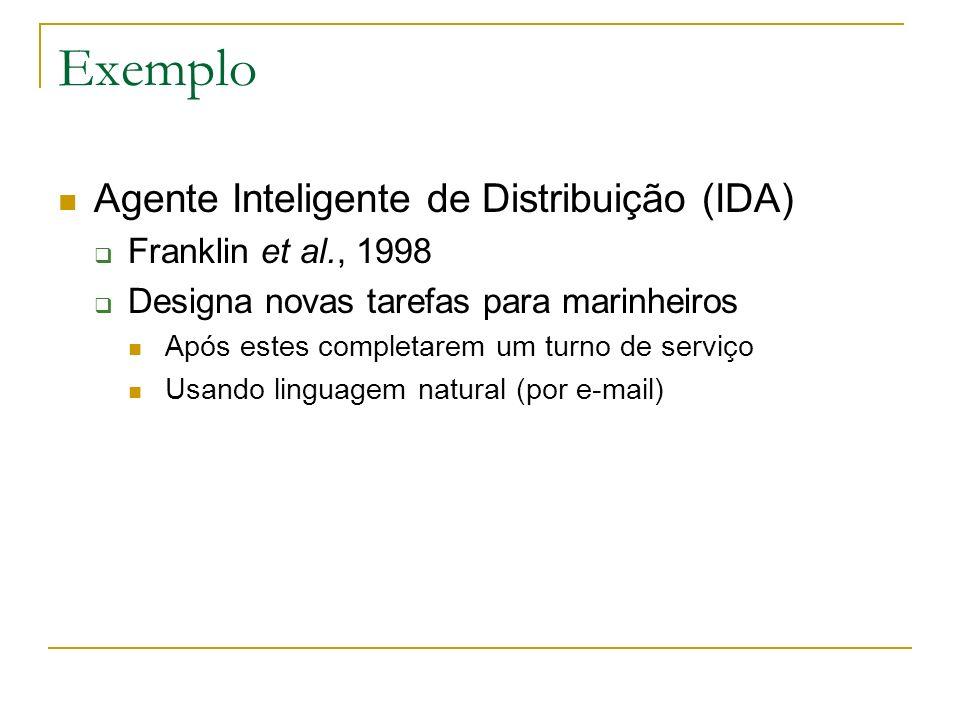 Exemplo Agente Inteligente de Distribuição (IDA) Franklin et al., 1998 Designa novas tarefas para marinheiros Após estes completarem um turno de servi