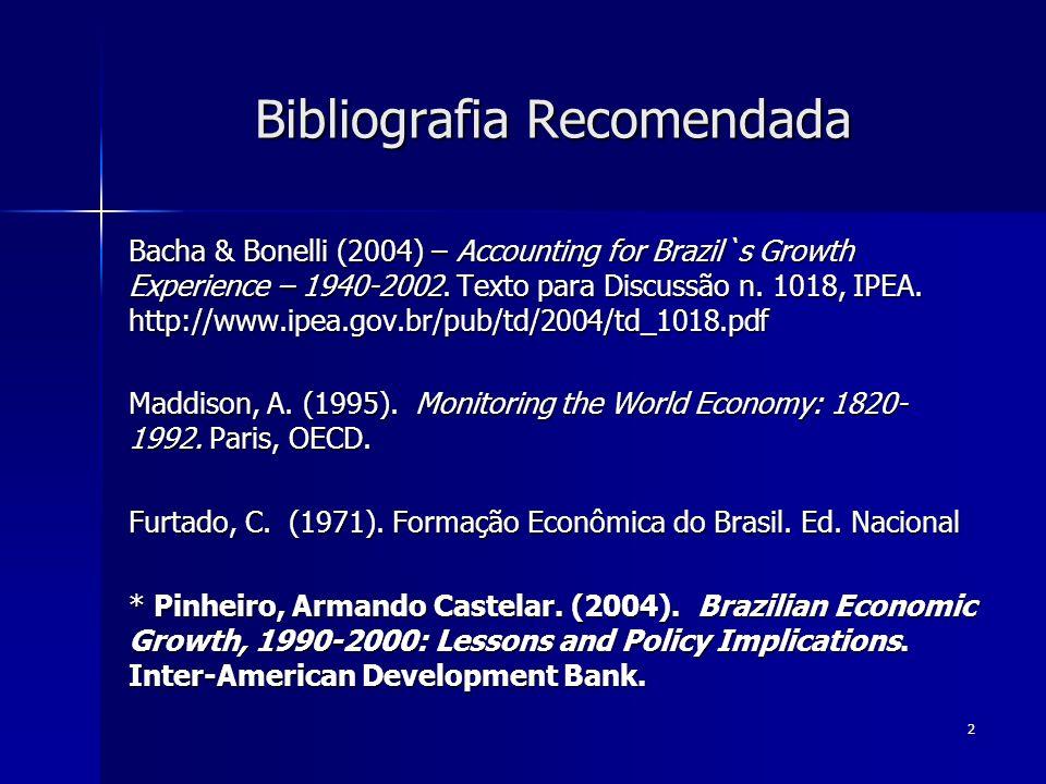 43 Bacha & Bonelli (2004, p.19) u = utilização da capacidade instalada; v = razão produto /capital em uso; p = preço relativo do investimento; s = taxa de poupança.