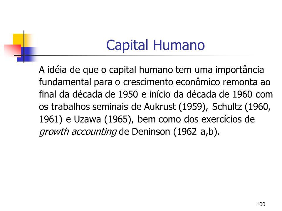 100 Capital Humano A idéia de que o capital humano tem uma importância fundamental para o crescimento econômico remonta ao final da década de 1950 e i