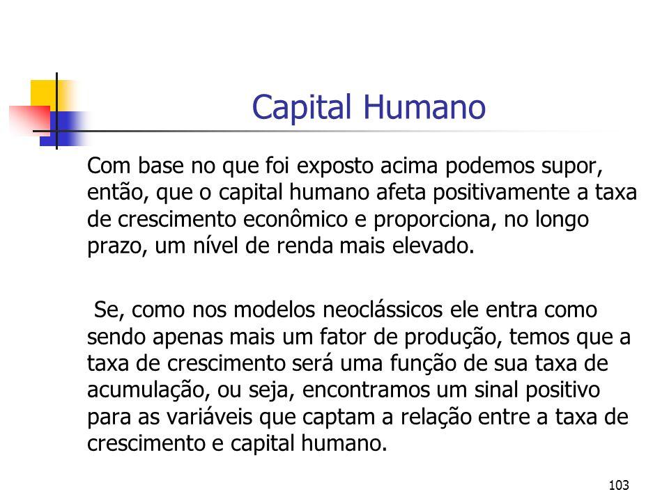 103 Capital Humano Com base no que foi exposto acima podemos supor, então, que o capital humano afeta positivamente a taxa de crescimento econômico e