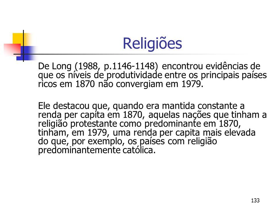 133 Religiões De Long (1988, p.1146-1148) encontrou evidências de que os níveis de produtividade entre os principais países ricos em 1870 não convergi