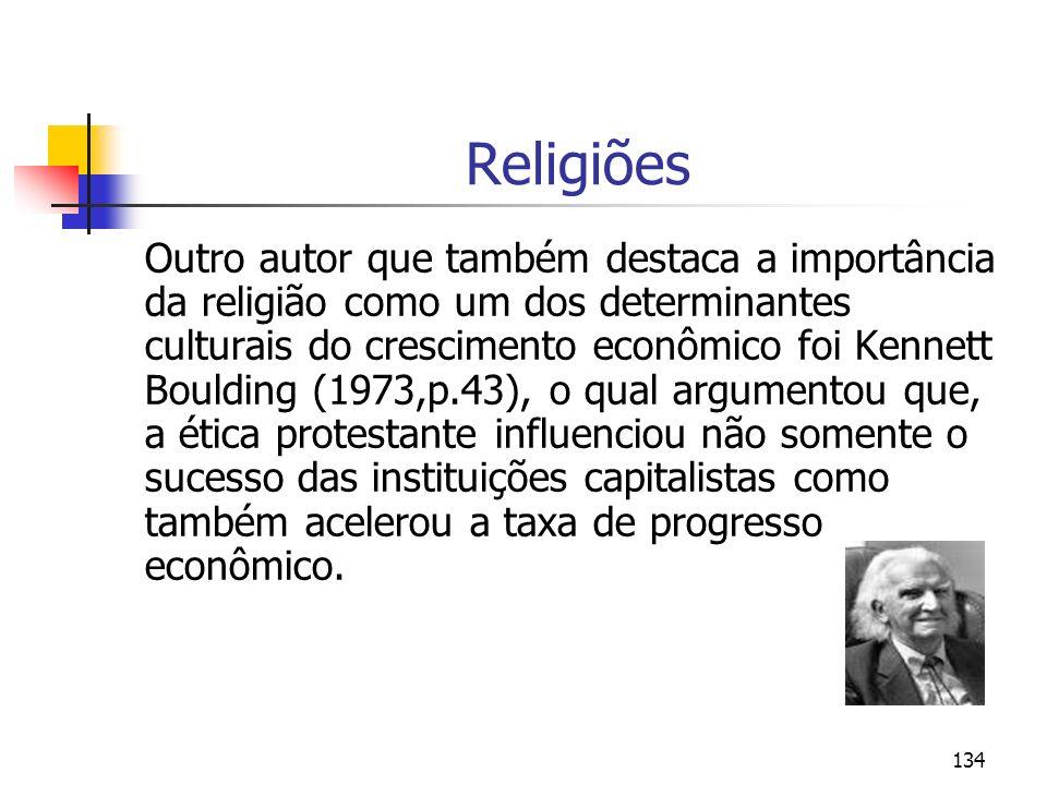 134 Religiões Outro autor que também destaca a importância da religião como um dos determinantes culturais do crescimento econômico foi Kennett Bouldi