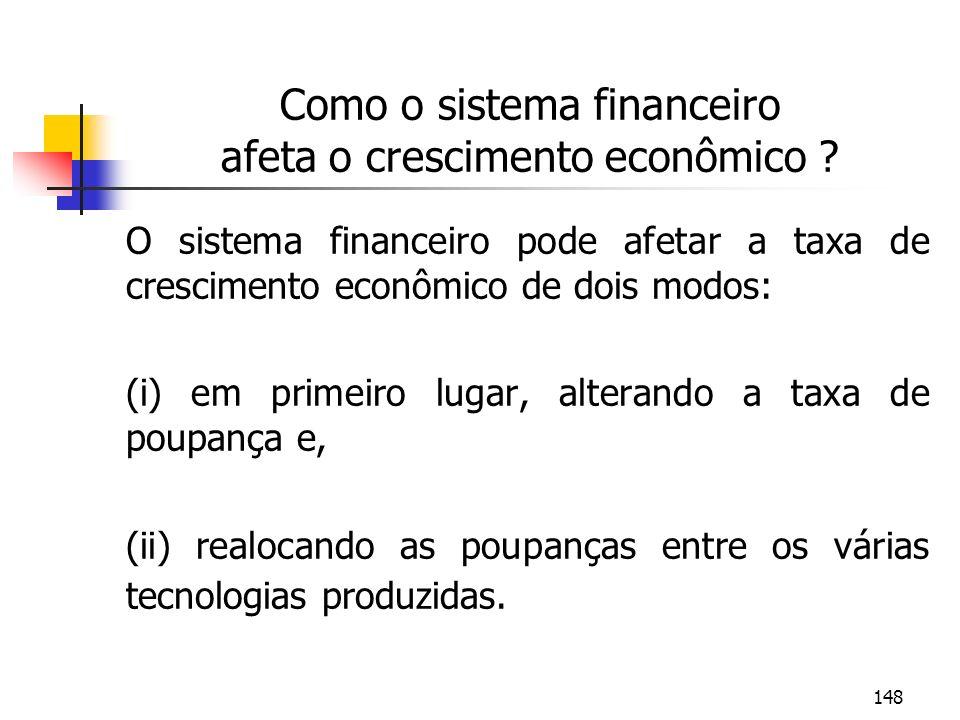 148 Como o sistema financeiro afeta o crescimento econômico ? O sistema financeiro pode afetar a taxa de crescimento econômico de dois modos: (i) em p
