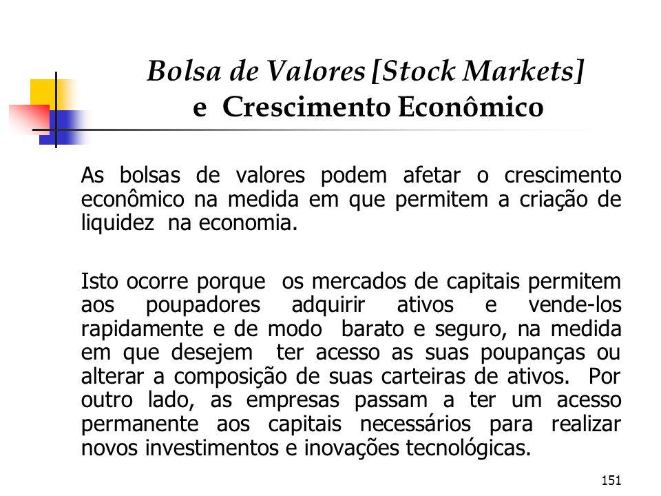 151 Bolsa de Valores [Stock Markets] e Crescimento Econômico As bolsas de valores podem afetar o crescimento econômico na medida em que permitem a cri