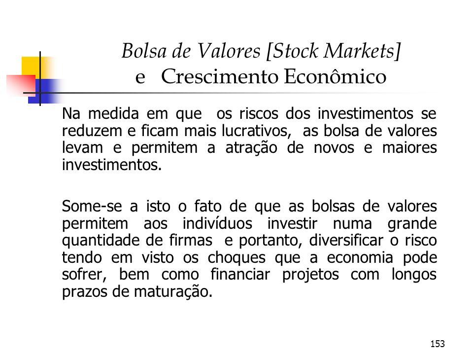 153 Bolsa de Valores [Stock Markets] e Crescimento Econômico Na medida em que os riscos dos investimentos se reduzem e ficam mais lucrativos, as bolsa