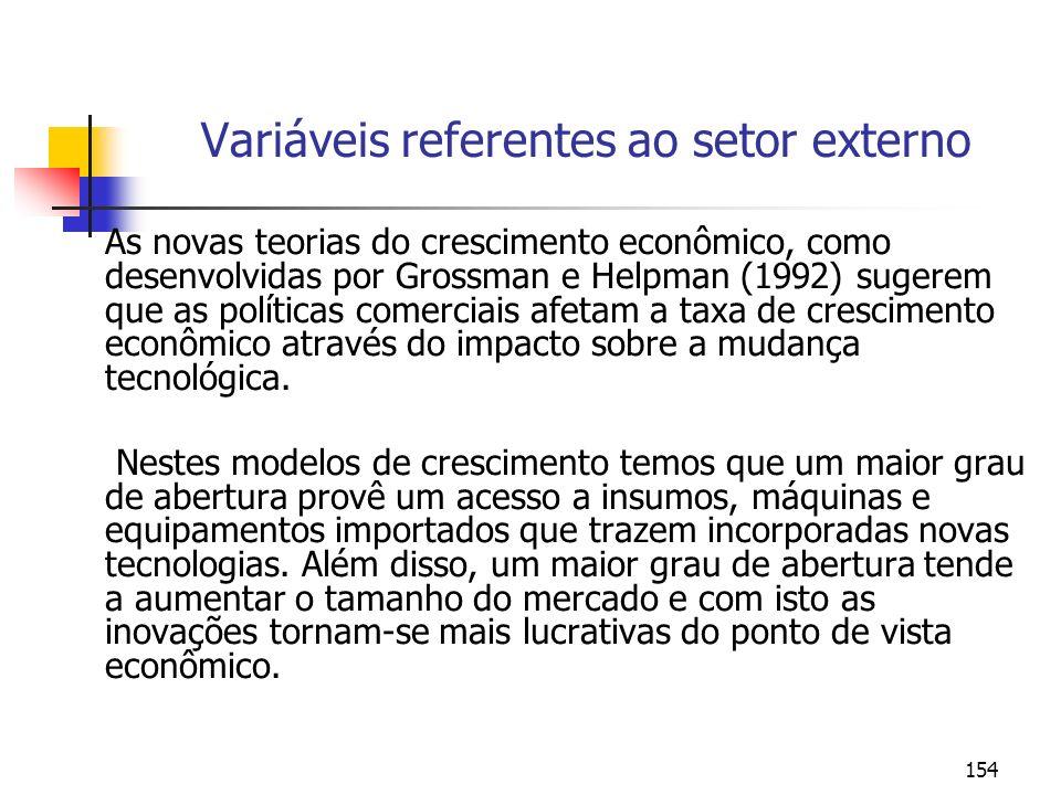 154 Variáveis referentes ao setor externo As novas teorias do crescimento econômico, como desenvolvidas por Grossman e Helpman (1992) sugerem que as p
