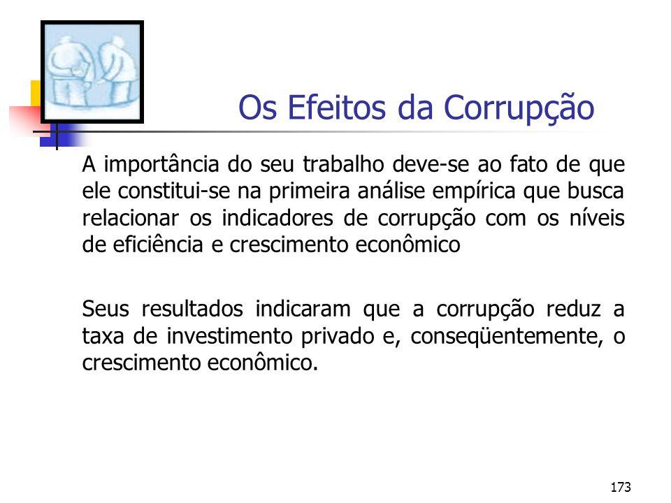173 Os Efeitos da Corrupção A importância do seu trabalho deve-se ao fato de que ele constitui-se na primeira análise empírica que busca relacionar os