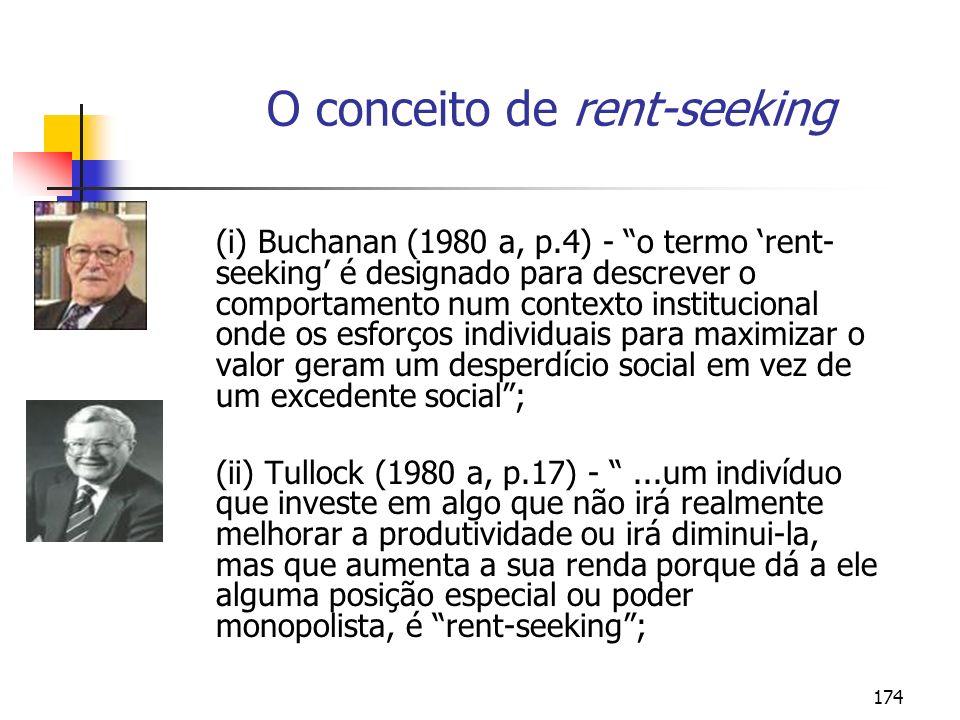 174 O conceito de rent-seeking (i) Buchanan (1980 a, p.4) - o termo rent- seeking é designado para descrever o comportamento num contexto instituciona