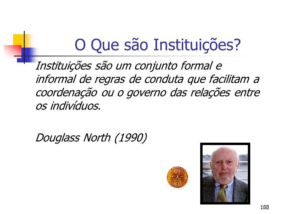 188 O Que são Instituições? Instituições são um conjunto formal e informal de regras de conduta que facilitam a coordenação ou o governo das relações