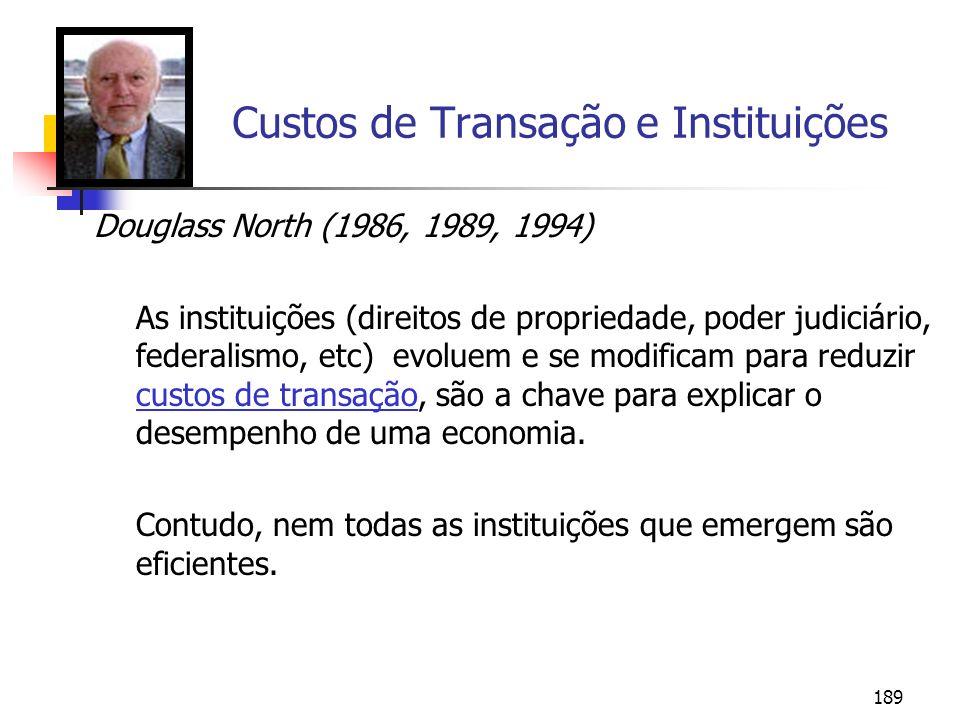 189 Custos de Transação e Instituições Douglass North (1986, 1989, 1994) As instituições (direitos de propriedade, poder judiciário, federalismo, etc)