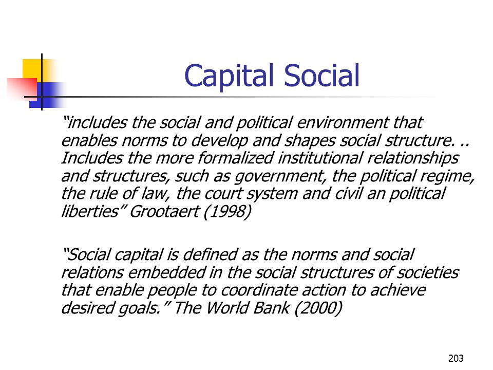 203 Capital Social includes the social and political environment that enables norms to develop and shapes social structure... Includes the more formal