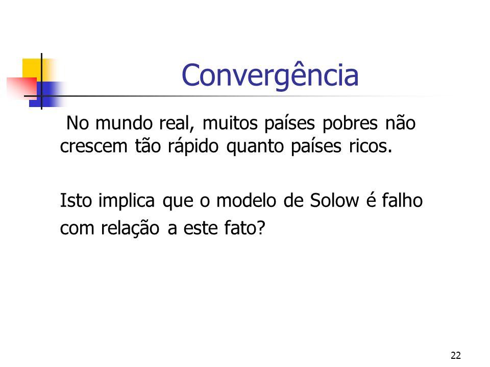 22 Convergência No mundo real, muitos países pobres não crescem tão rápido quanto países ricos. Isto implica que o modelo de Solow é falho com relação