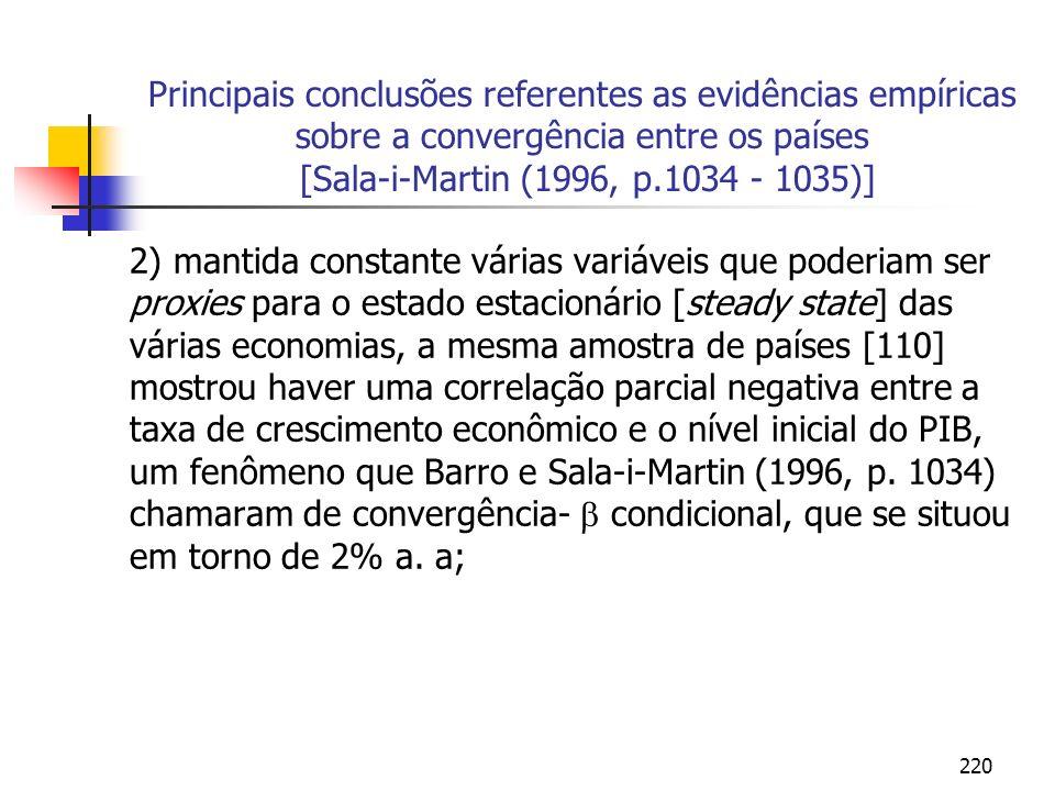 220 Principais conclusões referentes as evidências empíricas sobre a convergência entre os países [Sala-i-Martin (1996, p.1034 - 1035)] 2) mantida con