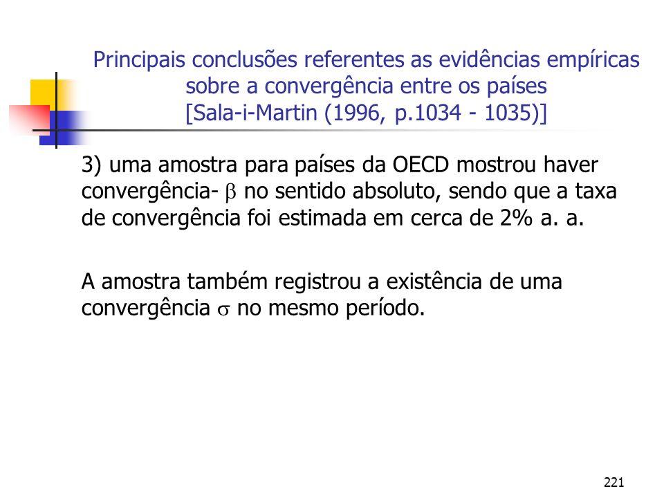 221 Principais conclusões referentes as evidências empíricas sobre a convergência entre os países [Sala-i-Martin (1996, p.1034 - 1035)] 3) uma amostra