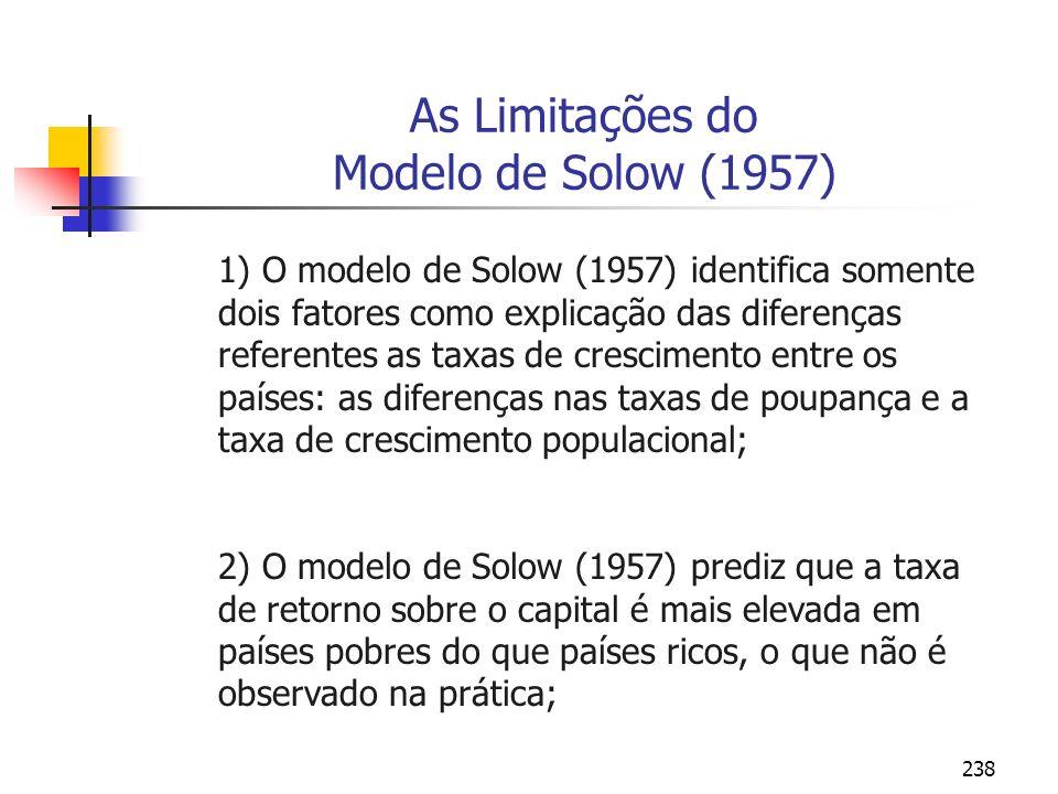 238 As Limitações do Modelo de Solow (1957) 1) O modelo de Solow (1957) identifica somente dois fatores como explicação das diferenças referentes as t