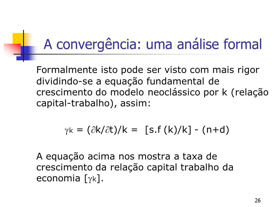 26 A convergência: uma análise formal Formalmente isto pode ser visto com mais rigor dividindo-se a equação fundamental de crescimento do modelo neocl