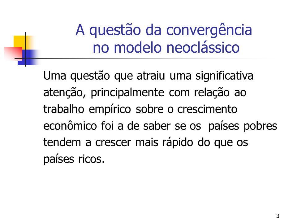 3 A questão da convergência no modelo neoclássico Uma questão que atraiu uma significativa atenção, principalmente com relação ao trabalho empírico so